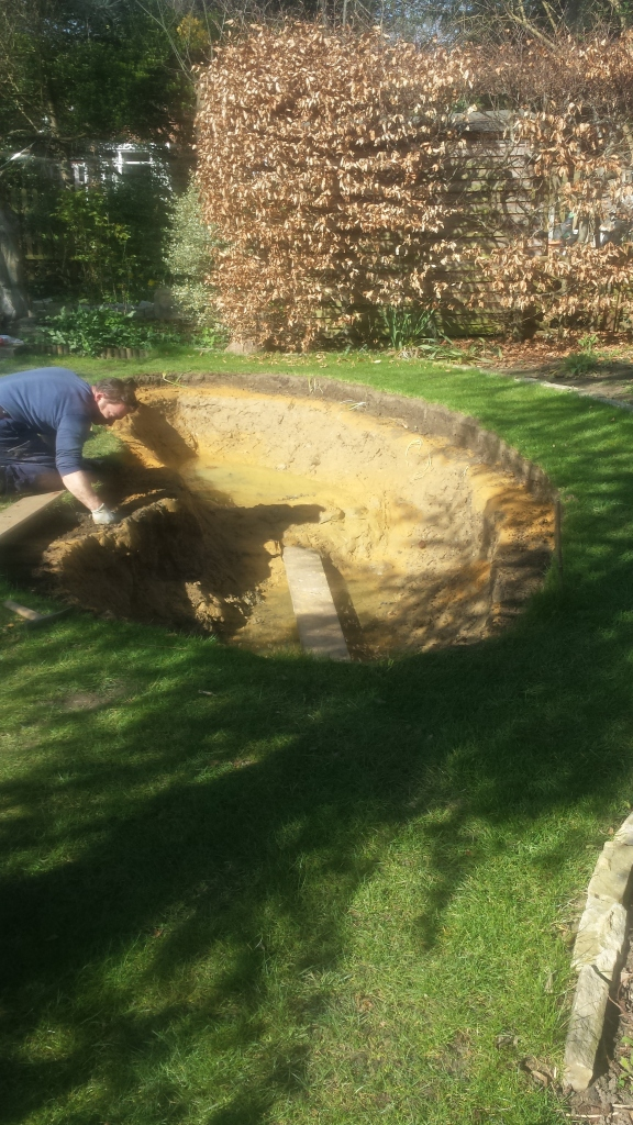 Day two, the pond edge needs levelling after rebuilding
