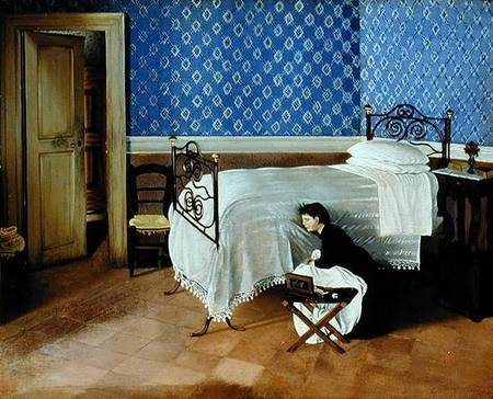 ALI142426 Interior with a figure (oil on canvas) by Cecioni, Adriano (1838-66) oil on canvas Galleria Nazionale d'Arte Moderna, Rome, Italy Alinari Italian, out of copyright